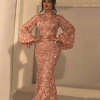brautkleid rose großhandel-Shiny Rose Gold Lace Mermaid Prom Kleider High Neck Long Sleeves Appliques Abendkleider bodenlangen Mutter der Braut Kleid