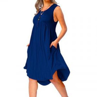 Wholesale plus size party dresses online - Women O Neck Dress Pleated Casual Pockets Sleeveless Above Knee Dress Plus Size Solid Color Loose Party Dresses LJJV163