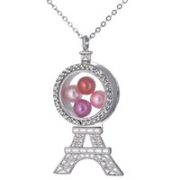 Wholesale stainless steel tower resale online - K1491 Silver Color Eiffel Tower Pearl Beads Cage Rhinestone Magnetic Glass Floating Locket Pendants Women Charms Steel Chain Necklace