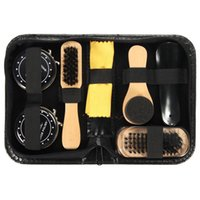 kit de cuidado de zapatos al por mayor-Shoe Shine Care Kit Black Brush Set de cepillos polacos para botas Zapatillas de deporte
