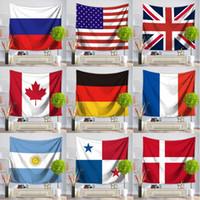 amerikanische tapisserie groihandel-Amerikanische Flagge Tuch Yogamatte Britisches Strandtuch Welt Flagge Tapisserie 150 * 130 cm Flagge Picknickdecke Im Freien