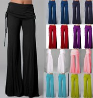 ingrosso pantaloni lunghi sciolti-3700 # 12 Colori S-4XL Pantaloni da donna casual elasticizzati Pantaloni a gamba larga Pantaloni larghi bohémien palazzo