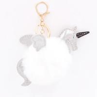 брелоки для мальчиков оптовых-Высокое качество сплава творческий 3D забавные животные симпатичные Hairball Крылья Единорог брелки брелки брелки девушки мальчики друг подарок