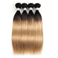 Wholesale honey blonde weave 22 inches resale online - Kisshair Colored Peruvian Hair g Silky Straight T1B Honey Blonde Ombre Hair Short Bob Style Straight Virgin Human Hair Weaves