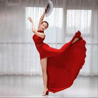 vestidos de baile de hadas al por mayor-Nuevo vestido largo de una pieza para mujer sexy Cómodo modal Traje de danza del vientre Cuello de malla Hada Falda de baile oriental Negro Grande