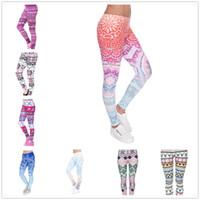ingrosso pantaloni yoga per ragazze-Leggings da ragazza per bambina Pantaloni Yoga Mandala Floral 3D Digital con stampa sirena Slim Fitness Workout Running Tights Pantaloni