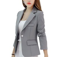 Wholesale ladies navy jackets resale online – New Long sleeved Slim Women Blazers And Jackets Small Women Suit Korean Version Gray Blue Wine Red Navy blue Ladies Blazer SS