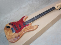 Wholesale electric guitar natural color online - Factory Natural Wood Color Left Handed Electric Guitar with Tree tuft Veneer Red Pickguard Rosewood Fretboard Can be customized