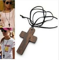 Wholesale long paragraph sweater chain necklace resale online - XL003 Korean female star favorite jewelry leather cord wood crucifix of Jesus long paragraph sweater chain necklace women