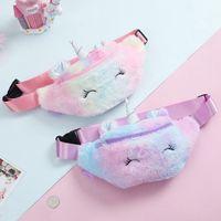 bolsas de embalaje de dibujos animados al por mayor-Bolsas de viaje unicornio felpa Bolsa de cintura para niños de la historieta linda riñonera muchachas de la correa del bolso de moda bolsa del teléfono pecho bolsa de almacenamiento OOA7372-1