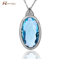 Wholesale big topaz for sale - Group buy Vintage Large Pendant Handmade Big Lab Topaz Stone Real Sterling Silver Statement Necklace Women Nepal Silver Slavic Jewelry