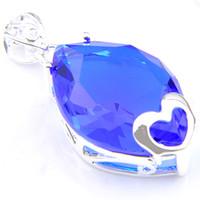 cruzes de vidro para fazer jóias venda por atacado-Promoção grande incêndio suíça Coração azul topázio colar de pingentes Partido Rússia Americana Austrália Wedding prata esterlina 925 pingentes colares