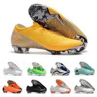 botas de fútbol para hombre talla 12 al por mayor-Para hombre Mercurial Superfly XII PRO FG CR7 CR7 12 bajo las botas de fútbol Ronaldo Neymar 20 Aniversario 1998-2014 fútbol calzan las grapas del tamaño 36-46