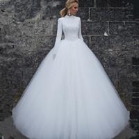 ingrosso applique abiti donna-2019 Abiti da sposa musulmani maniche lunghe collo alto abiti da sposa semplici abiti su misura abiti da sposa lunghi