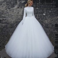 Wholesale women sexy t shirt summer for sale – custom 2019 Muslim Wedding Dresses Long Sleeves High Neck Simple Women Bridal Dresses Custom Made Long Wedding Gowns