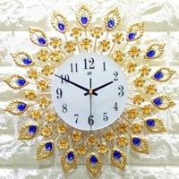 relógio de metal moderno venda por atacado-Metal Ferro Forjado Relógio Mudo de Ouro Simples Criativo Relógio de Parede Moderna Casa Moda Decorativa Quartzo 2019 Venda Quente
