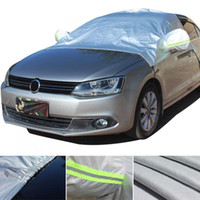 Wholesale car body protector resale online - Universal Half Body Cotton Velvet Four Seasons UV Rain Protector Dustproof Car Clothing Cover with Reflective Strip Hook