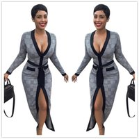bilder kleidmuster großhandel-Echtbild Grau Kariertes Muster Elegante Frauen Kleider Sexy V-ausschnitt Mit Langen Ärmeln Front Split Mantel Party Kleid 2019 Neuheiten