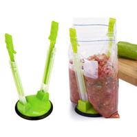 makine el aletleri toptan satış-Eller Baggy Plastik Baghee Açıcı Raf Gıda Saklama Torbası Tutucu Makinası Mutfak Araçları Klip Raf 100pcs OOA7078-6