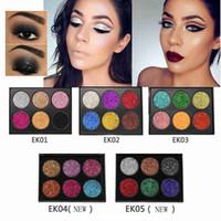 conjunto de brillo de pigmento de sombra de ojos al por mayor-NUEVA POPFEEL 6 Color Maquillaje Brillo Paleta de Sombra de Ojos Paleta de Maquillaje Metálico Impermeable Aclarar Brillo del Ojo Brillo Pigmentos Cosméticos