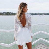 046f6b1b2ab10 Yinlinhe Beyaz Çiçek Plaj Kadınlar Seksi Şeffaf Yaz Elbise Uzun Kollu  Backless Hollow Out Dantel Boho Vestido 608 C19041901
