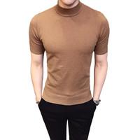 tops de cuello alto sexy al por mayor-2019 Heat Fashion Jersey de manga corta para hombre Cuello alto suéteres Cardigan para hombre Estilo británico Básico Top Slim Fit Gentleman Sexy