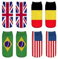 Wholesale usa flag women resale online - Women Men Ankle Socks Fashion D american USA Flag Socks Casual Cotton Sock Unisex Ankle Socks KKA6528