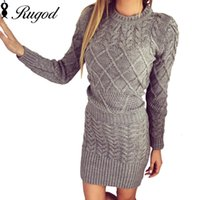 Wholesale new dress pattern stand for sale - Group buy Rugod New Patterned Women Warm Sweater Dresses Winter Knitted Dress Female Thick High Elastic Slim Bodycon Dress Vestidos T5190614