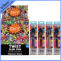 batería ect al por mayor-100% original ECT COS VV Twist Slim Pen 380mah Precalentar Vape Batería 510 Hilo Voltaje Variable Batt Fit Cartuchos TKO VS OOZE