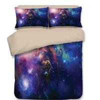 cama de impressão de galaxy 3 venda por atacado-Nova Impressão 3D Galaxy Universo Conjunto de Cama para o Menino Adolescente Azul Céu Estrelado Zipper Capa de Edredão com 2 Fronhas boa qualidade de moda