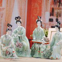 jingdezhen süsleri toptan satış-Jingdezhen El Yapımı Klasik Seramik Güzellik Heykelcik Porselen Satranç Boyama Heykel Süs Ev Dekorasyon Zanaat Dekorasyon