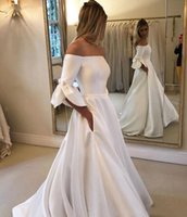 Wholesale bows button dress images for sale - Group buy Princess Style Vintage Wedding Dresses Off Shoulder Flare Sleeves A Line Sweep Train Bridal Gowns Customize Plus Size