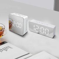 ledli dijital masa saatleri toptan satış-Kare / Dikdörtgen LED Dijital Ayna Duvar Saati Gece Işığı Uyandırma Çalar Saat Danışma Saatler Sıcaklık Ekran Decora Saat Yeni