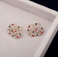 Wholesale coloured studs resale online - Hot sale New Designer colours Rhinestone Letter ear stud For Women fashion Stud Earring Jewelry Gifts