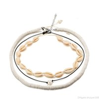 cuerdas de gargantilla al por mayor-Collar de Concha VSCO chica para el collar de las mujeres de Boho Puka Shell Gargantilla Conjunto de Hawai Seashell colgante Surfer perla del cordón collares conjunto Beach joyería