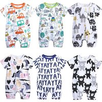 Wholesale boys 24 month onesies resale online - 2019 Cartoon Baby Onesies Summer Cotton Romper Boy Girls Months Kids Clothes Knitted Cartoon Short sleeved Jumpsuit Outfits Y200623