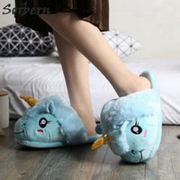 Wholesale plush slippers unicorn for sale - Group buy Sorbern Lovely Warm Winter Shoes Women Home Slipper Plush Unicorn Slippers Slides Flat Heels House Shoes Indoor Slides New Y200706