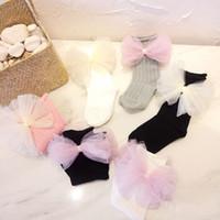 Wholesale kids girls hose for sale - 1 Y Baby Cotton Socks Cute Sweet Yarn Bow Foot Wear Infants Soft Socks Kids Children Solid Hose Princess Girls Lovely