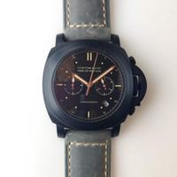 aço inoxidável preto pvd venda por atacado-Homens de quartzo assistir 44mm pulseira de couro com preto pvd caixa de aço inoxidável preto mostrador de quartzo movimento relógio Q-02