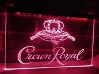 signes royaux de couronne achat en gros de-LE104- Couronne Royal Derby Whiskey NR bière Bar Light Sign décoration pour la maison artisanat