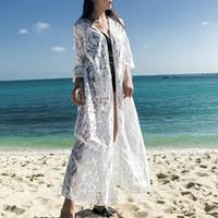 maiô de renda fina venda por atacado-Mulheres Verão 3/4 Mangas Sheer Frente Aberta Maxi Cardigan Floral Lace Swimsuit Cover Up Protetor Solar Camisa Beachwear Com Bolsos