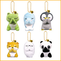 pendentif porte-clés panda achat en gros de-Nouveau 6 styles 8 cm Creative Poupée Grenouille Panda Penguin Poupée Jouet Souhaitant Peluche Pendentif Porte-clés Enfants Jouets L117