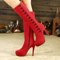 senhoras longas botas de neve venda por atacado-Mulheres sapato zapatos mujer joelho botas altas senhoras chaussure fino botas de salto alto gladiador botas longas vintage sapatos de Neve mulher
