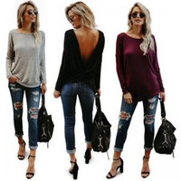 477d988877b V Open Back Backless T-Shirt Women Tops Long Sleeve Solid Loose Casual Tee Shirt  Tops Pullover home clothing AAA1715