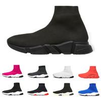 zapatos purpurina rosa plana al por mayor-Balenciaga Diseñador Speed Trainer Marca de lujo zapatos casuales negro blanco rojo puros Calcetines planos Botas Zapatillas de deporte Zapatillas de deporte de moda Corredor