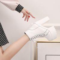 neue fersensohlen großhandel-Dick mit Martin Boots 2019 Neu 15 Cm Super High Heel Wasserdichte Plattform Kurze Stiefel Dicke Sohle Knöchel Römische Frauen