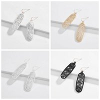 Wholesale resin jewelry painting resale online - Hollowing Out Earrings Alloy Geometry Diamond Eardrop Spray Paint Multi Color Earring For Women Wedding Jewelry lc H1