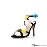 tacones de visón al por mayor-de las mujeres de piel de visón por mayor zapatos de moda de verano estrechas tacones altos atados-venda de la cruz Sandalias de mujeres Calzado mujeres abiertas del dedo del pie Zapatos