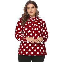 dessus à pois, plus la taille achat en gros de-Plus la taille 6xl noeud papillon chemise manches polka dot blouse 4xl 5xl chemisier femme 2019 femmes tops et blouses rouge blanc blusas