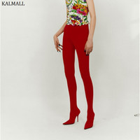 на коленях розовые сапоги оптовых-KALMALL Red Pink Stretch Thigh High Boots Winter Pointed Toe Stiletto Heels Women Pants Boots Runway Style Over-The-Knee
